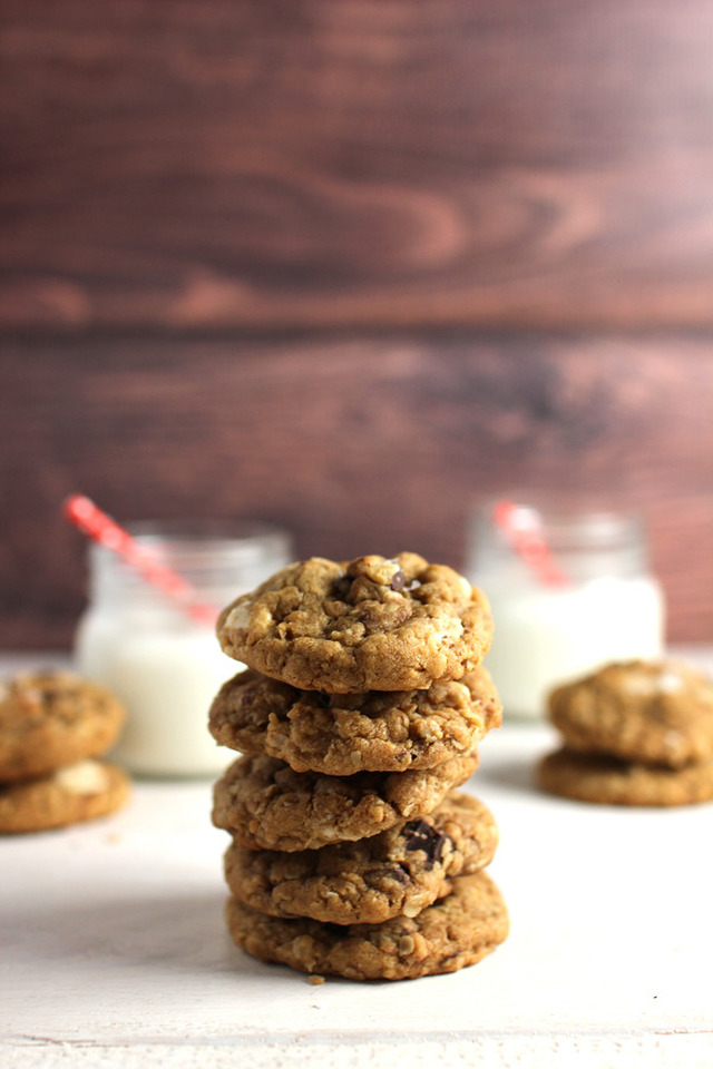 Oatmeal chocolate chip cookies with peanut butter