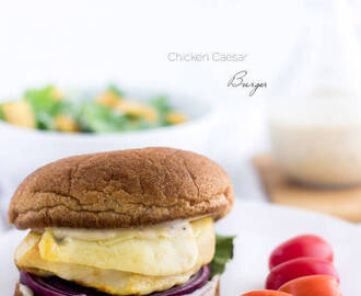 Chicken Burger Recipe with Caesar Dressing {Low fat, Whole wheat + Super Simple}
