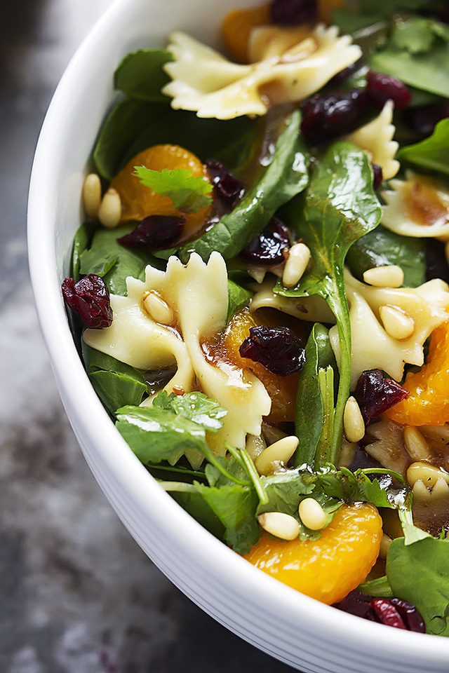 Mandarin Pasta Spinach Salad with Teriyaki Dressing