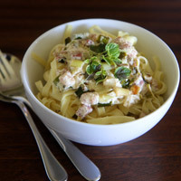 Leek and Pancetta Fettucini