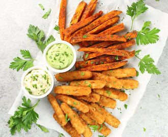Fish Sticks with BBQ Sweet Potato Fries & Avocado Ranch