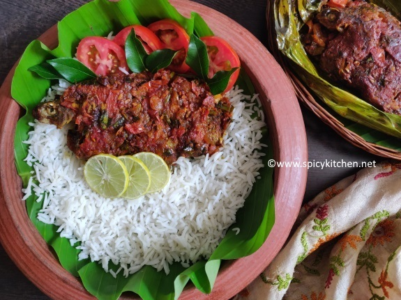 Spicy Fish Wrap with Mango Paste and Coconut Milk | Karimeen pollicahthu with mango paste