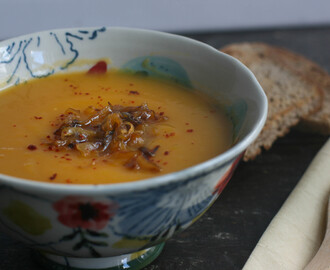 Butternut squash soup with coconut milk and caramelized onions