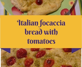 Focaccia (Italian pizza bread) with tomatoes