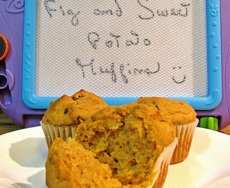 Muffins sans gluten aux figues et à la patate douce/Gluten free fig and sweet potato muffins
