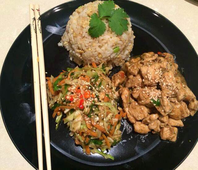 Coriander Chicken with Egg Fried Rice
