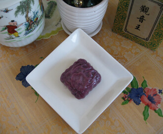 Purple Sweet Potato Dumpling With Red Bean Paste 紫红豆沙粿