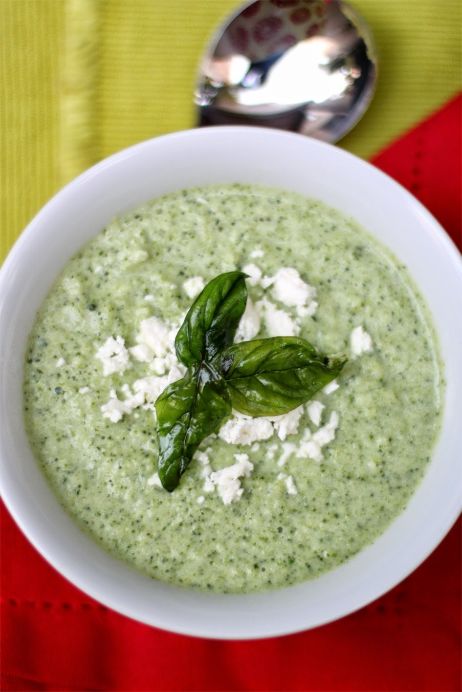 Quick Creamy Broccoli Soup with Feta and Fried Basil