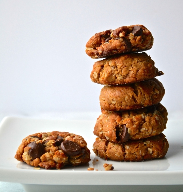 Dark Chocolate Chip Peanut Butter Oat Cookies {Gluten & Dairy Free}