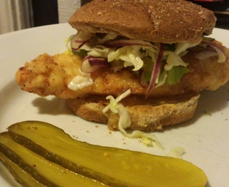 Spicy Fried Chicken Sandwich with Coleslaw