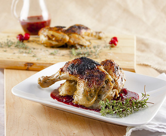 Cornish Game Hen with Triple Cranberry Sauce