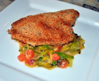 Crispy Fish with Leek and Tomato Sauce