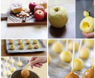 Mini Caramel Apples  Ingredients:   Extra-large apples  Caramels...