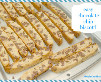 easy chocolate chip biscotti recipe~made with cookie pouch mix