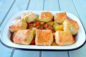Citrus Vegetable Bake with Herb Cheese Cobbler