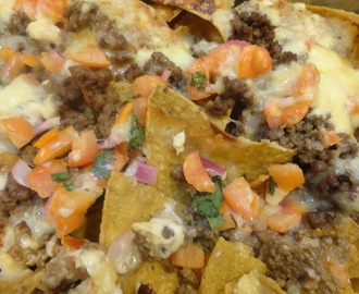 Potluck: BEEF NACHOS with special homemade CHEESY-GARLIC-MAYO