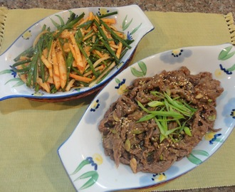 Korean food: BULGOGI and a Filipino-Korean fusion side dish: APPLE-PEAR-CHIVE SALAD with SWEET KIMCHI and BAGOONG DRESSING