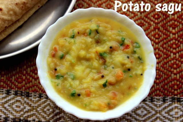 Potato sagu recipe – How to make potato sagu or potato masala recipe – side dish for rotis