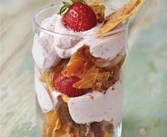 Refreshing trifle with crispy phyllo and strawberry cream