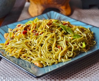 Green tea noodles in basil and sun dried tomato seasoned oil