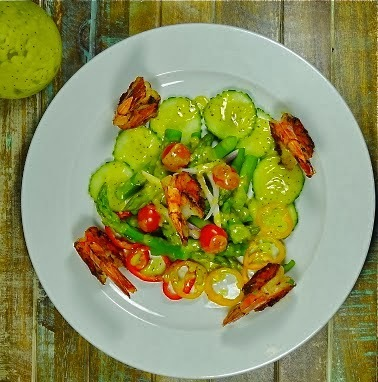Asparagus Salad and Grilled Prawns with avocado poppy seed vinaigrette