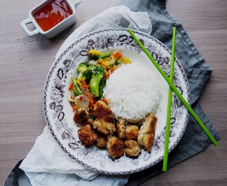 Fried Tofu with Wok, Rice and Sweet Chili Sauce