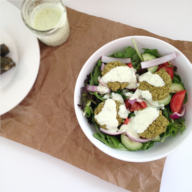 Baked Falafel Salad with Tzatziki Dressing