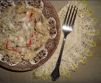 Mushroom and chicken pasta with grainy mustard