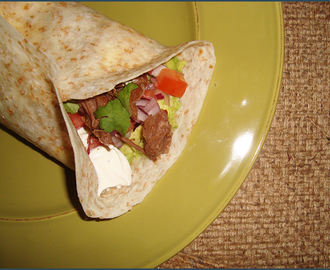 Crockpot spicy beef wrap