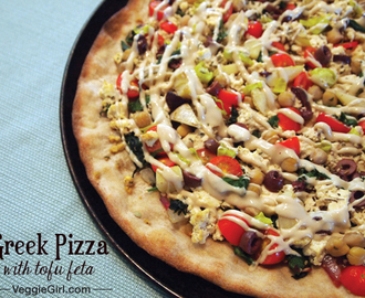 Greek Pizza with Tofu Feta