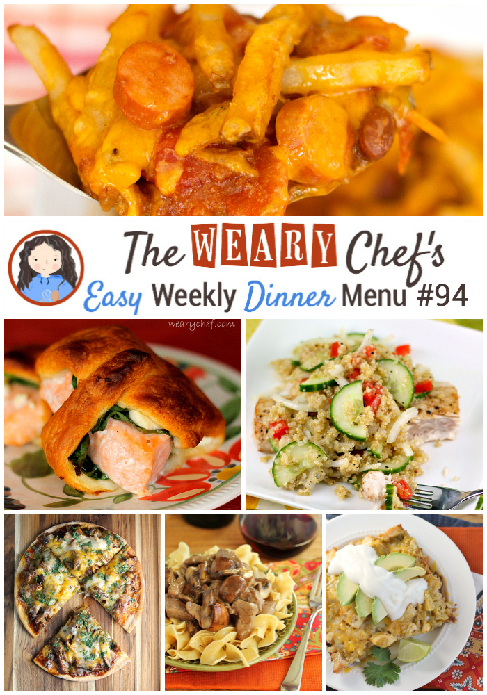 Easy Weekly Dinner Menu #94: Casseroles, Healthy Dishes, Pizza, and more!