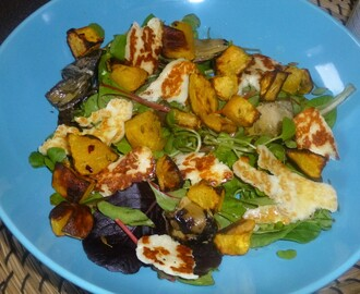 Roasted Chilli and Fennel Squash Salad with Halloumi and a Lemon and Tarragon Dressing Recipe