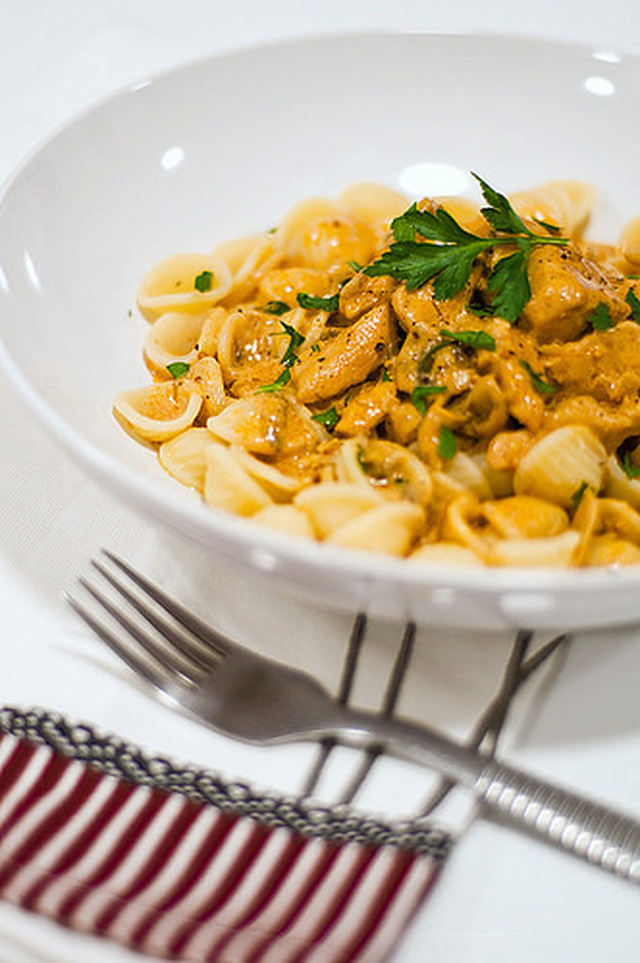 Creamy Orecchiette with Chicken Stroganoff