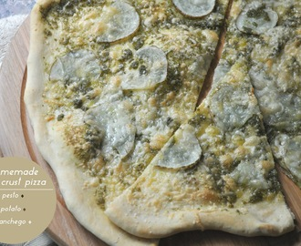 homemade thin crust pizza + pesto + potato + manchego