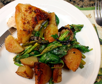 Pan Roasted Lemon Chicken with Potatoes, Asparagus, and Spinach