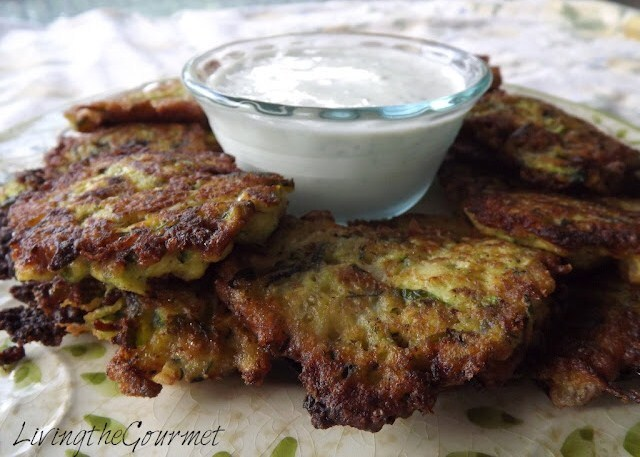 ~ Zucchini Fritter Appetizer with Sour Cream Dip ~