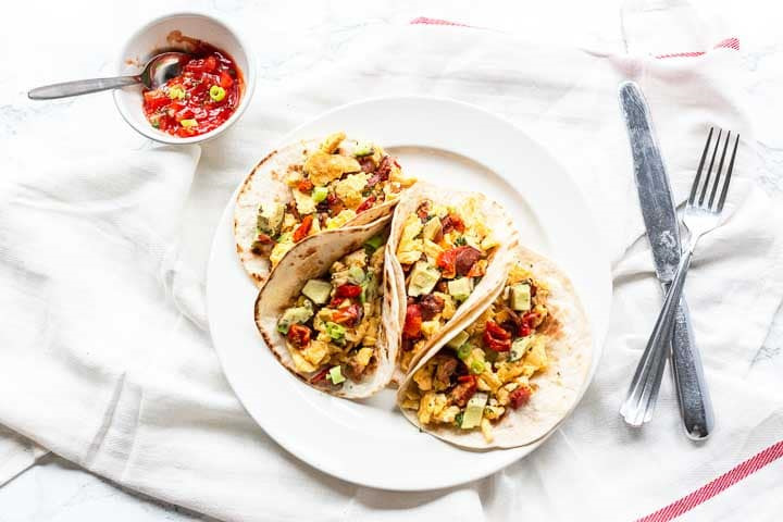 Breakfast tacos with egg and bacon