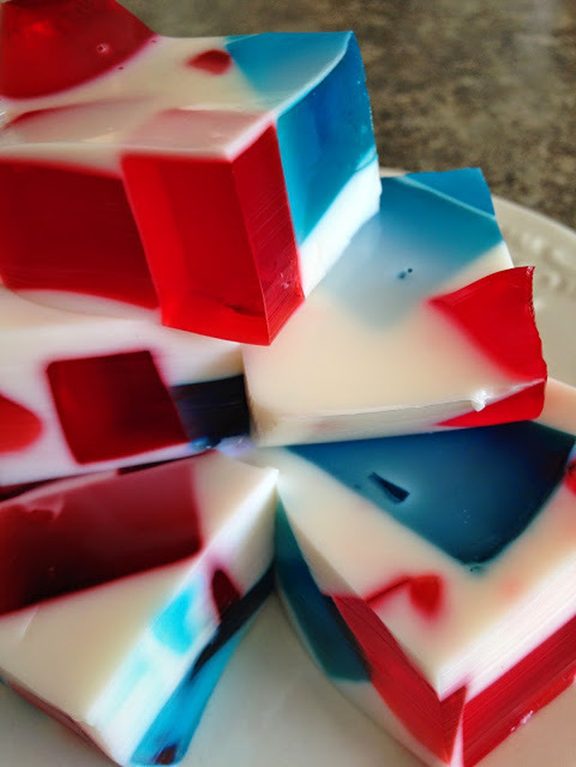 Red, White and Blue Jell-o Squares