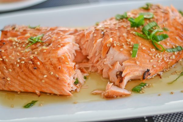 broiled salmon with ginger honey glaze