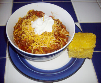 Pork and Beans Chili and Honey Hush Corn Bread