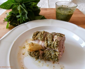 Filet mignon de porc au pesto de menthe (Pork tenderloin with mint pesto)