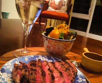Pepper-Crusted Steak & Roasted Cumin Veg