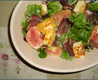 Our Growing Edge: Biltong and fig salad with halloumi cheese