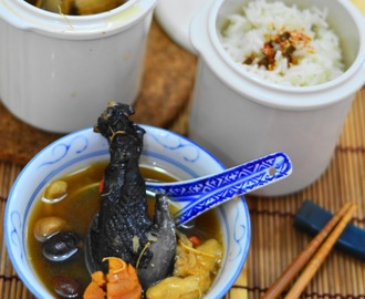 亲子餐:人参乌鸡汤套餐+宝宝四蔬鱼肉粥 Ginseng Black Chicken Soup Set Meal+Vegetables and Fish Porridge For Baby (安心炖盅王 / Khind Double Boiler)