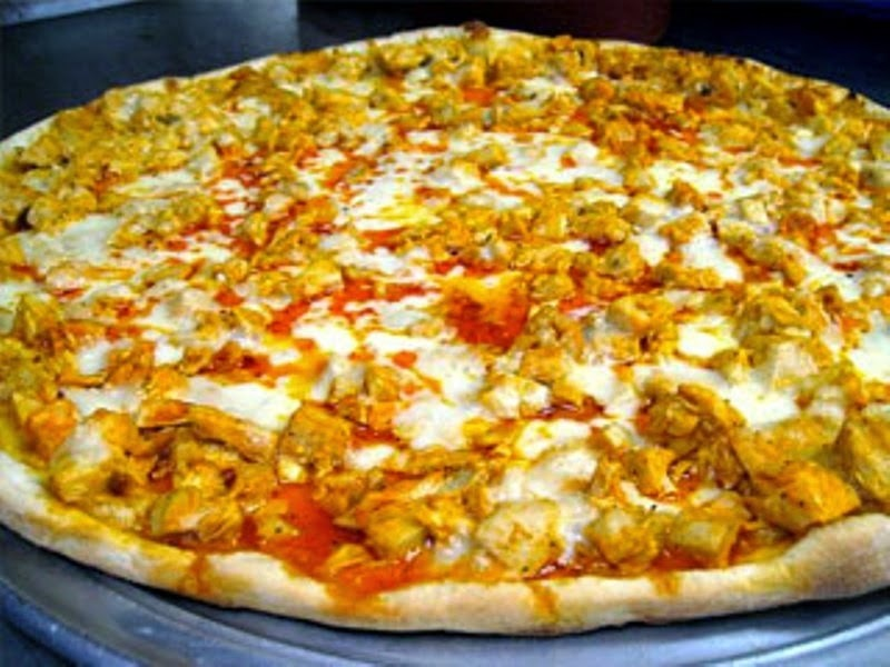 Hot Buffalo Chicken Pizza, Italian Crust with Blue Cheese Sauce  #PizzaWorld
