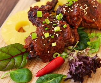Chicken Wings baked with Bobby Flay's Asian-style Pineapple-Ginger BBQ sauce