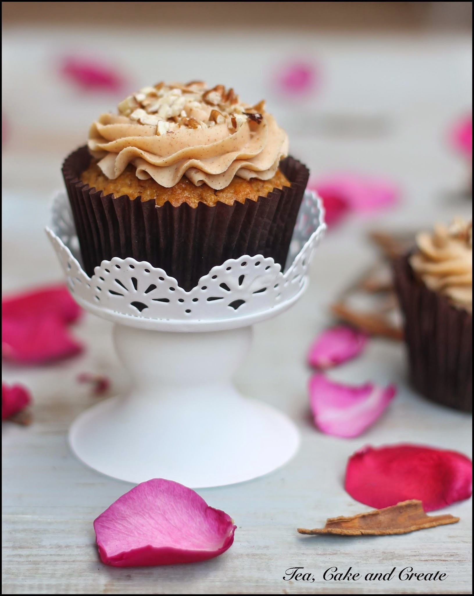 Carrot Cake Cupcakes with Cinnamon and Salted Caramel Cream Cheese Icing