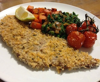 Smokey Veal and Thyme Schnitzel with Creamed Spinach and Peas