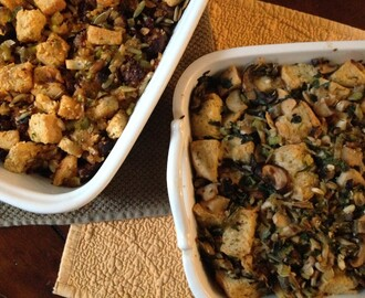 Focaccia Stuffing with Leeks and Wild Mushrooms