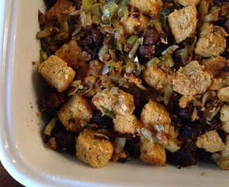 Cornbread Stuffing with Chorizo and Pepitas
